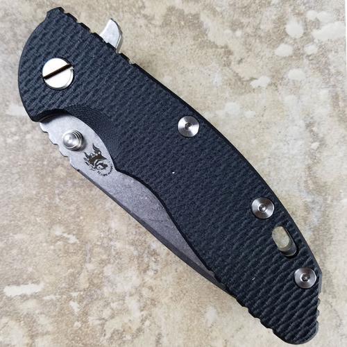Rick Hinderer XM-18 Knife 3.5 Inch Spear Point Black G10 Stonewash Frame Lock Flipper