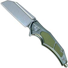 Artisan Apache Knife 1813P-GGN D2 Modified Wharncliffe Greenish Gray Aluminum with Green G10 Liner Lock Flipper Folder