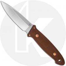 Boker Plus Cub Pro 02BO029 - Lucas Burnley - Satin D2 Drop Point Fixed Blade - Brown Micarta - Leather Sheath