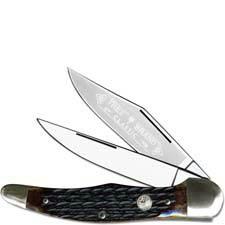 Boker Folding Hunter Knife 112020AB - Jigged Appaloosa Bone - Solingen Carbon Steel - German Made