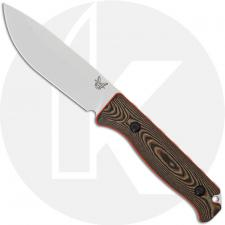 Benchmade Saddle Mountain Skinner 15002-1 - CPM S90V Drop Point Fixed Blade - Richlite / Orange G10 Handle - Hunting Knife - USA