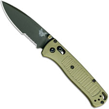 Benchmade Bugout 535SGRY-1 Part Serrated Gray Nitride Drop Point Ranger Green Grivory AXIS Lock USA Made