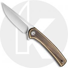 CIVIVI Mini Asticus Knife C19026B-2 - Satin Drop Point - Black Hand Rubbed Brass - Liner Lock Flipper Folder