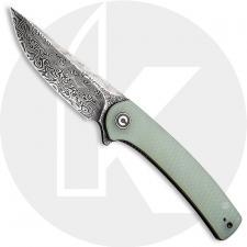CIVIVI Mini Asticus Knife C19026B-DS1 - Black Hand Rubbed Damascus Drop Point - Natural G10 - Liner Lock Flipper Folder