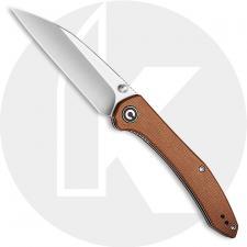 CIVIVI Hadros Knife C20004-2 - Value Price EDC - Satin Wharncliffe - Brown Micarta - Liner Lock Folder