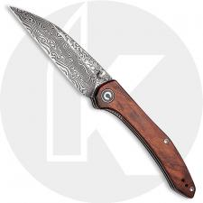 CIVIVI Hadros Knife C20004-DS1 - Black Hand Rubbed Damascus Wharncliffe - Cuibourtia Wood - Liner Lock Folder