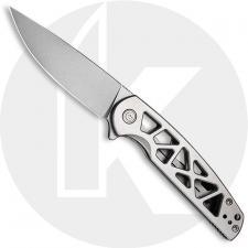 CIVIVI Perf Knife C20006-A - Value Price EDC - Stonewash Nitro-V Drop Point - Skeletonized Stainless Steel - Frame Lock - Flippe