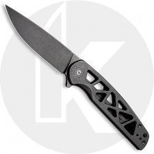 CIVIVI Perf Knife C20006-B - Value Price EDC - Black Stonewash Nitro-V Drop Point - Black Skeletonized Stainless Steel - Frame L