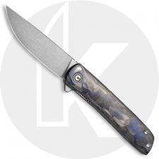 CIVIVI Bo Knife C20009B-A - Brad Zinker EDC - Gray Stonewash Nitro-V Drop Point - Carbon Fiber Blue - Liner Lock - Flipper Folde