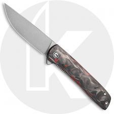 CIVIVI Bo Knife C20009B-B - Brad Zinker EDC - Gray Stonewash Nitro-V Drop Point - Carbon Fiber Red - Liner Lock - Flipper Folder
