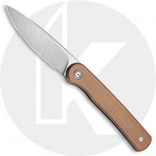 CIVIVI Stylum Knife C20010B-A - Value Price EDC - Gray Stonewash Drop Point - Brown Micarta - Slip Joint - Front Flipper Folder