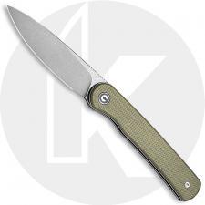 CIVIVI Stylum Knife C20010B-B - Value Price EDC - Gray Stonewash Drop Point - Olive Micarta - Slip Joint - Front Flipper Folder