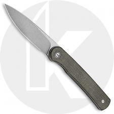 CIVIVI Stylum Knife C20010B-C - Value Price EDC - Gray Stonewash Drop Point - Dark Green Micarta - Slip Joint - Front Flipper Fo