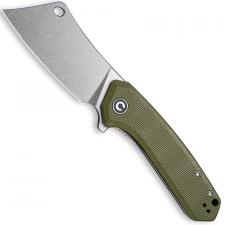 CIVIVI Mini Mastodon Knife C2011A - Stonewash Cleaver Style Blade - OD Green G10 - Liner Lock Flipper Folder