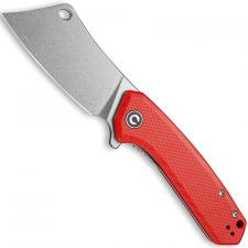 CIVIVI Mini Mastodon Knife C2011B - Stonewash Cleaver Style Blade - Red G10 - Liner Lock Flipper Folder