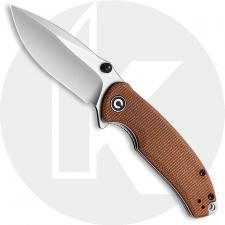 CIVIVI Pintail C2020A - Satin S35VN Drop Point - Brown Micarta - Liner Lock Flipper Folder