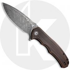 CIVIVI Praxis Knife C803DS-3 - Black Hand Rubbed Damascus Drop Point - Black Hand Rubbed Copper - Liner Lock Flipper Folder