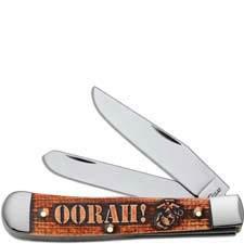 Case USMC Trapper Knife Set 13189 Smooth Natural Bone Cinnamon Color Wash OORAH! Embellishment