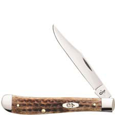 Case Slimline Trapper Knife 23657 Pocket Worn Burnt Brown Bone 61048SS