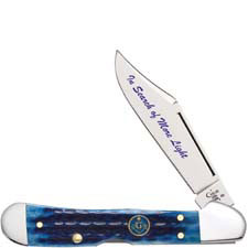 Case Masonic Mini CopperLock Knife 25531 Blue Bone with Gift Tin 61749LSS
