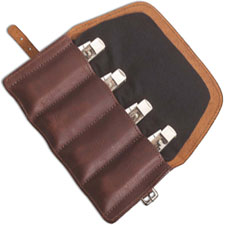 Case 50246 Gentlemans Knife Roll, Leather with Flannel Lining Holds 4 Medium Size Folding Knives