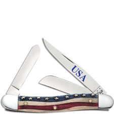 Case Medium Stockman 64136 Star Spangled Patriotic Smooth Natural Bone 6318SS