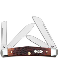 Case Medium Congress 07017 Knife Chestnut Bone CV Carbon Steel Blades 64052CV