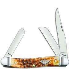 Case Medium Stockman Knife 80255 Burnt Amber Bone 6318SS