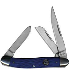 Cattlemans Cutlery Stockman Signature Series Traditional Pocket Knife Jigged Blue Delrin CC0001JBL