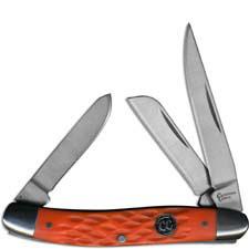 Cattlemans Cutlery Stockman Signature Series Traditional Pocket Knife Jigged Orange Delrin CC0001JOD