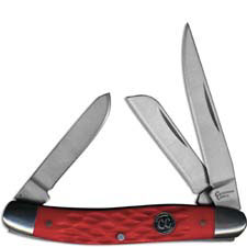 Cattlemans Cutlery Stockman Signature Series Traditional Pocket Knife Jigged Red Delrin CC0001JRD