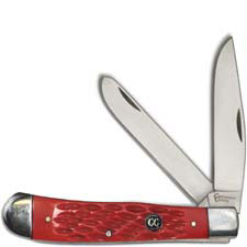 Cattlemans Cutlery Trapper Signature Series Traditional Pocket Knife Jigged Red Delrin CC0002JRD