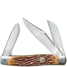 Camillus C2NS Rancher Knife - Cartridge Series - Stockman - Dark Brown Delrin - Brass .22 Hornet Shield - DISCONTINUED ITEM - OL