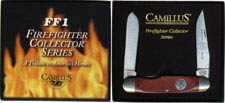 Camillus Firefighter Collectors Knife FF1 - Clip and Spey Blades - Redwood Laminated North American Hardwood Handle - Firemans S