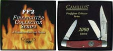 Camillus Firefighter Collectors Knife FF2 - Stockman Knife - Redwood Laminated North American Hardwood Handle - Firemans Scrambl