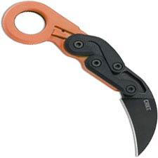 CRKT Provoke Orange 4041O - Joe Caswell - Karambit Folder - Black Stonewash - Kinematic Action - Orange Grivory - Ring Pommel