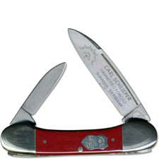 Eye Brand Baby Lima Bean Knife - Hammer Forged Solingen Carbon Steel Blades - Red Composition Handle - German Made