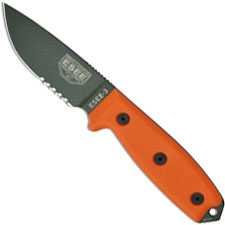ESEE Knives ESEE-3S-OD Part Serrated Olive Drab Drop Point - Orange G10 Handle - Black Molded Sheath