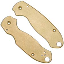 Flytanium Custom Brass Scales for Spyderco Para 3 Knife - Antique Stonewash Finish
