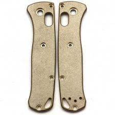 Flytanium Custom Brass Scales for Benchmade Mini Bugout Knife - Antique Stonewash Finish