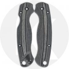 Flytanium Custom Micarta Scales for Spyderco Paramilitary 2 Knife - Lotus Black Linen