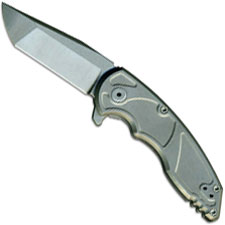 Jake Hoback A8 Slimline Folder - Sandblast Stonewash CPM 20CV - Sandblast Stonewash Titanium Flipper Folder USA Made