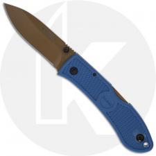 KABAR Dozier D2 Folding Hunter 4062D2 - Value Priced EDC - Dark Tan D2 Drop Point - Blue Zytel - Lock Back Folder