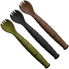 KABAR 9909MIL Field Kit Tactical Spork Set OD Green, Black and Brown Creamid Knife Fork Spoon Set