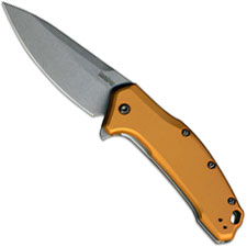 Kershaw Link 1776BRZSW Knife Stonewash Flipper Folder Assisted Opening Bronze Aluminum Handle