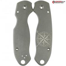ENGRAVED Flytanium Titanium Scales for Spyderco Para 3 - Nautical Star - Stonewash Finish