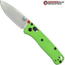 MODIFIED Benchmade Mini Bugout Michelangelo Lime Green 533 Knife - Satin Blade - Rit Dyed Handle