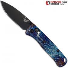 MODIFIED Benchmade Mini Bugout 533BK1 Knife + Titanium Flytanium Scales MAYHEM FINISH