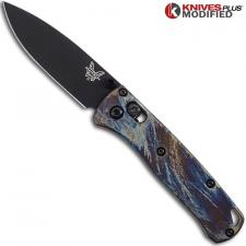 MODIFIED Benchmade Mini Bugout 533BK1 Knife + Titanium Flytanium Scales MAYHEM FINISH