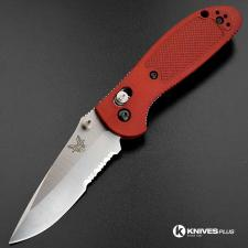 MODIFIED Benchmade Mini Griptilian Knife - Part Serrated - The Red Dragon - Satin
